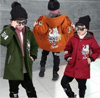 Tong new style 2018 winter boys' woolen coat, children's medium and large children's leisure thickening middle long cotton padde