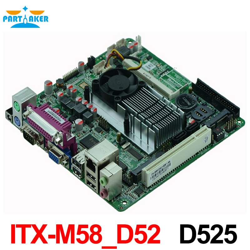 Atom D525 Motherboard ITX-M58_D52 with high quality industrial embedded MINI ITX Mainboard mini itx motherboard embedded industrial motherboard epia m830 ultra thin dual channel lvds 100% tested perfect quality