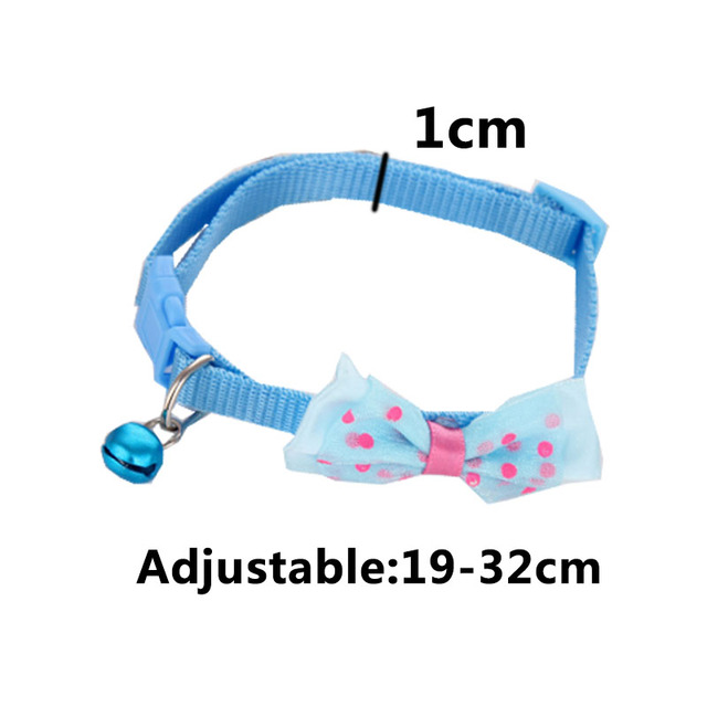 Fashion Cute Kitten 1pc New Adjustable Bowknot Nylon Dog Cat Pet Collar Bow Tie Bell Puppy Candy Color Necktie 6