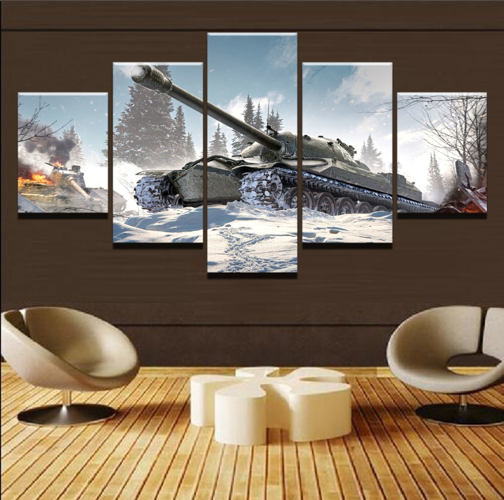 Abstract Painting Wall Art Framework Pictures Home Decor Photo 5 Pieces War World Of Tanks Landscape HD Printed Canvas Posters in Painting Calligraphy from Home Garden