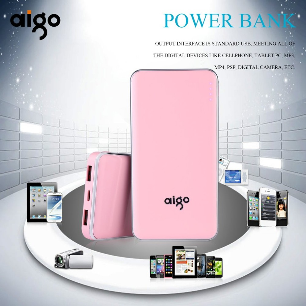 Aigo 10000mAh Power bank Ultra Slim Dual USB Portable External Battery Fast Charging PowerBank quick charger for mobile phones