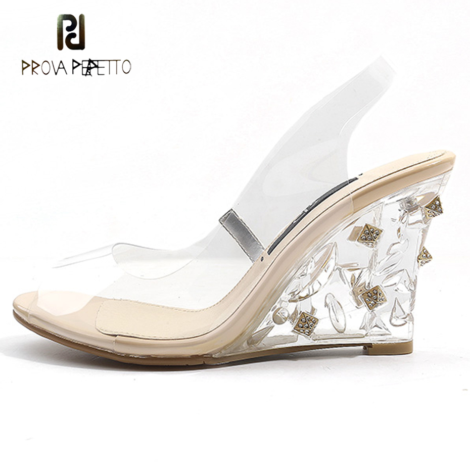 Prova Perfetto 2018 new transparent wedge jelly sandals peep toe crystal decor clear high heel perspex shoes fashion runway shoe цены онлайн