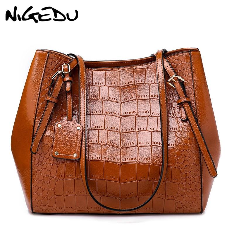 7c40822aeb NIGEDU Alligator women handbags Large capacity High Quality PU Leather  Female shoulder bags Ladies big Totes