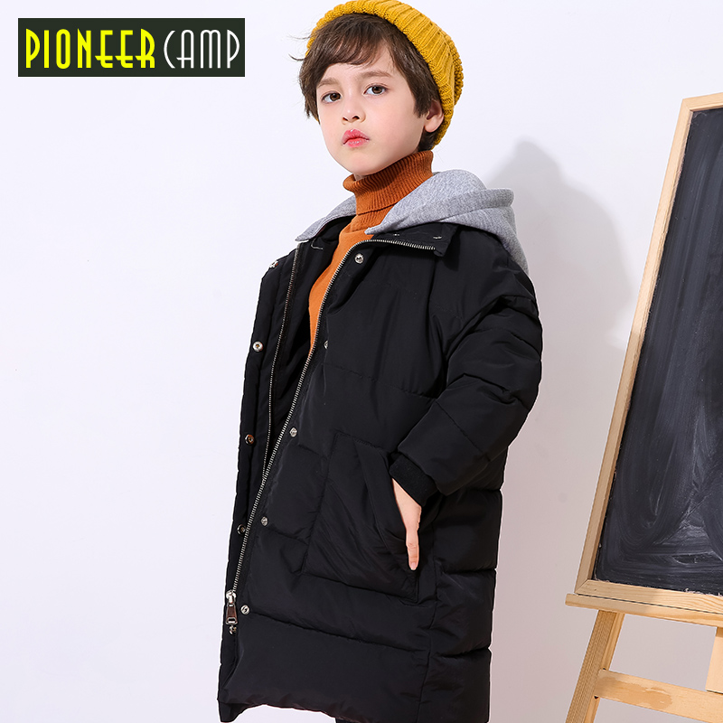Pioneer Camp kids new winter jacket boys long style detachable hood fashion printed winter coat for boys thick warm BMF809154