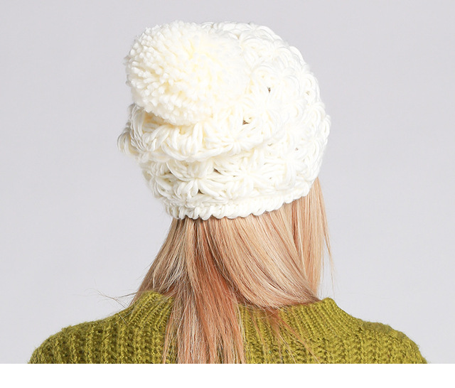 The new autumn and winter knitted hat Baotou Mao handmade hollow wool cap CA301