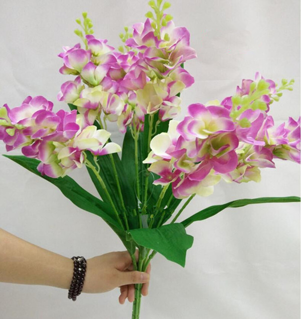 49CM Silk flower wedding bouquet violet Artificial flowers fall ...