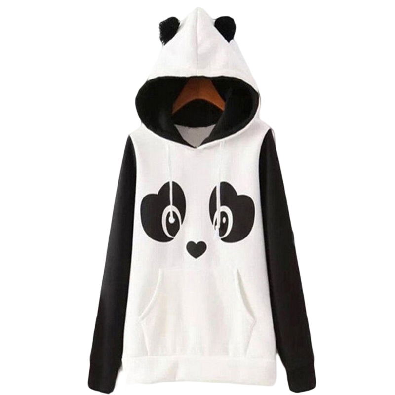 Hot Sales  Lovely Women Panda Hoodies Black and White Winter Autumn Cosplay Pullovers Sweatshirts Size S-2XL Plus Size