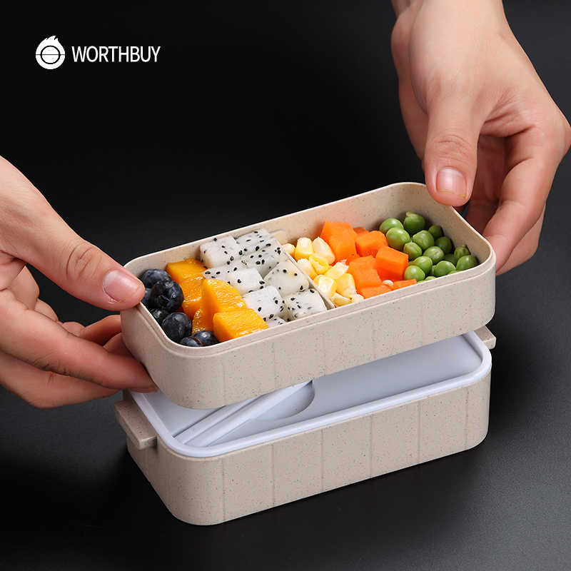 Worthbuy japonês micro-ondas bento caixa de palha de trigo criança lancheira leak-proof bento lancheira para crianças escola recipiente de alimentos