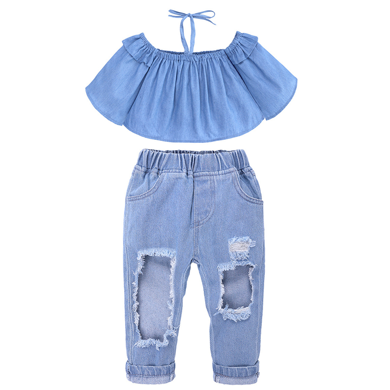 baby girl One-shoulder shirt + denim pantsuit summer new EUR and USA childrens wear little girl jeans with holes chest top suit