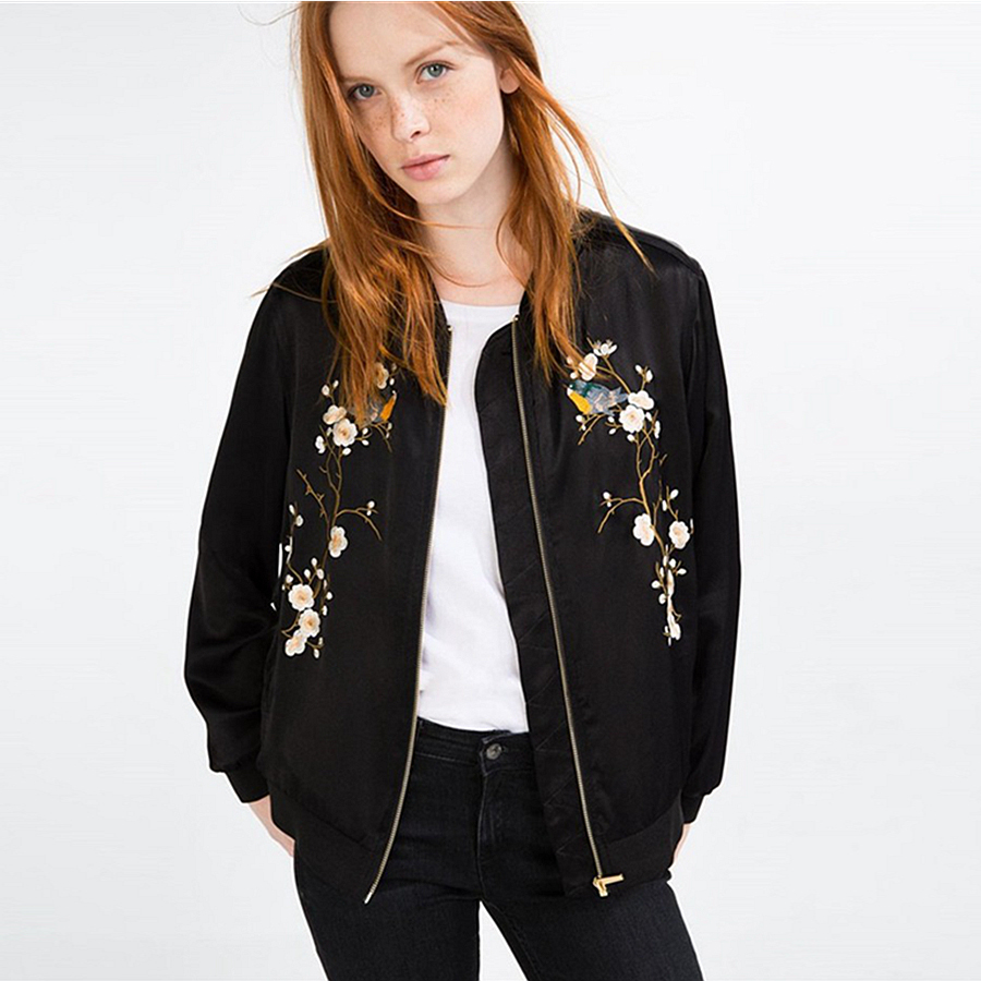 Autumn Winter Fashion Embroidery Bird Jacket Zipper Flower ...