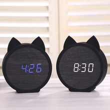 LED Wooden Alarm Clocks Kids clock Cute Cat Silicone Electronic table Cartoon Calendar Perfection Voice Control