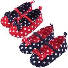 Малыш девушки принцесса обувь горошек бантом 0 — 12 месяцев M23