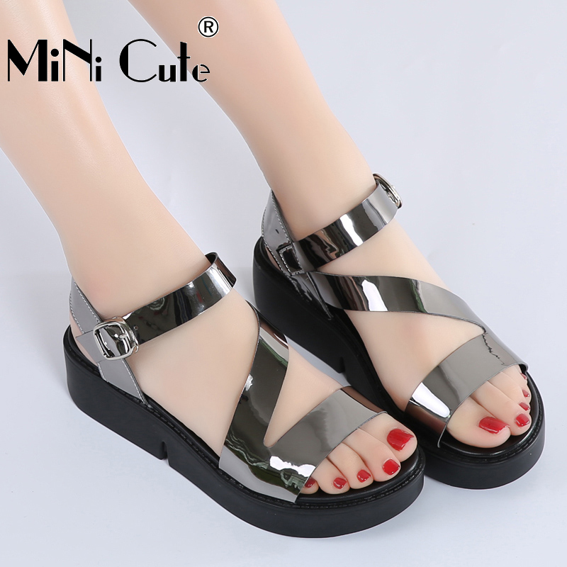 2017 Office Lady Sandals Female Soft Pu Leather Women High Heels Clics Wedge Shoes Summer Career Shoe Slides In S From