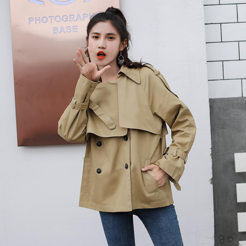 2018 New Spring Women   Trench   Coat Double Breasted Loose Lulu Brief Paragraph Short Thin Coats Khaki Black 7650