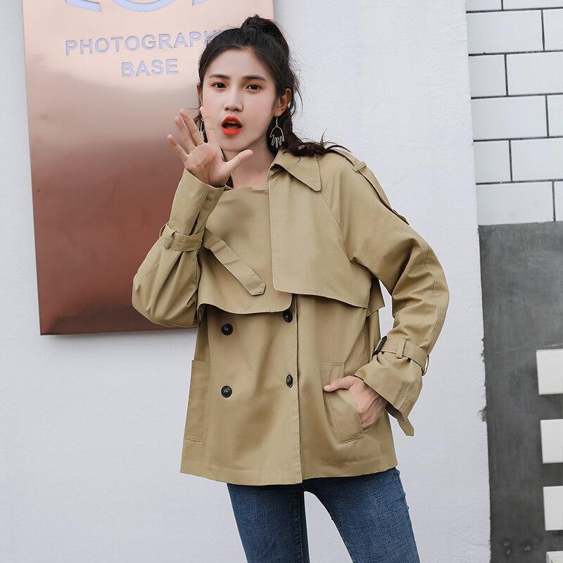 2018 nouveau printemps femmes Trench Coat Double boutonnage lâche Lulu bref paragraphe court mince manteaux kaki noir 7650