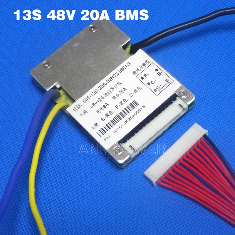 Free Shipping! 13S 48V 20A BMS li-ion battery BMS Used for 48V 10Ah 12Ah 15Ah and 20Ah battery E-bike battery 48V 1000W BMS цены