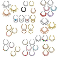 2015 Special Offer Limited Trendy Plant Piercing Ombligo Belly Button Rings 12pc Nose Piercing Septum Fake