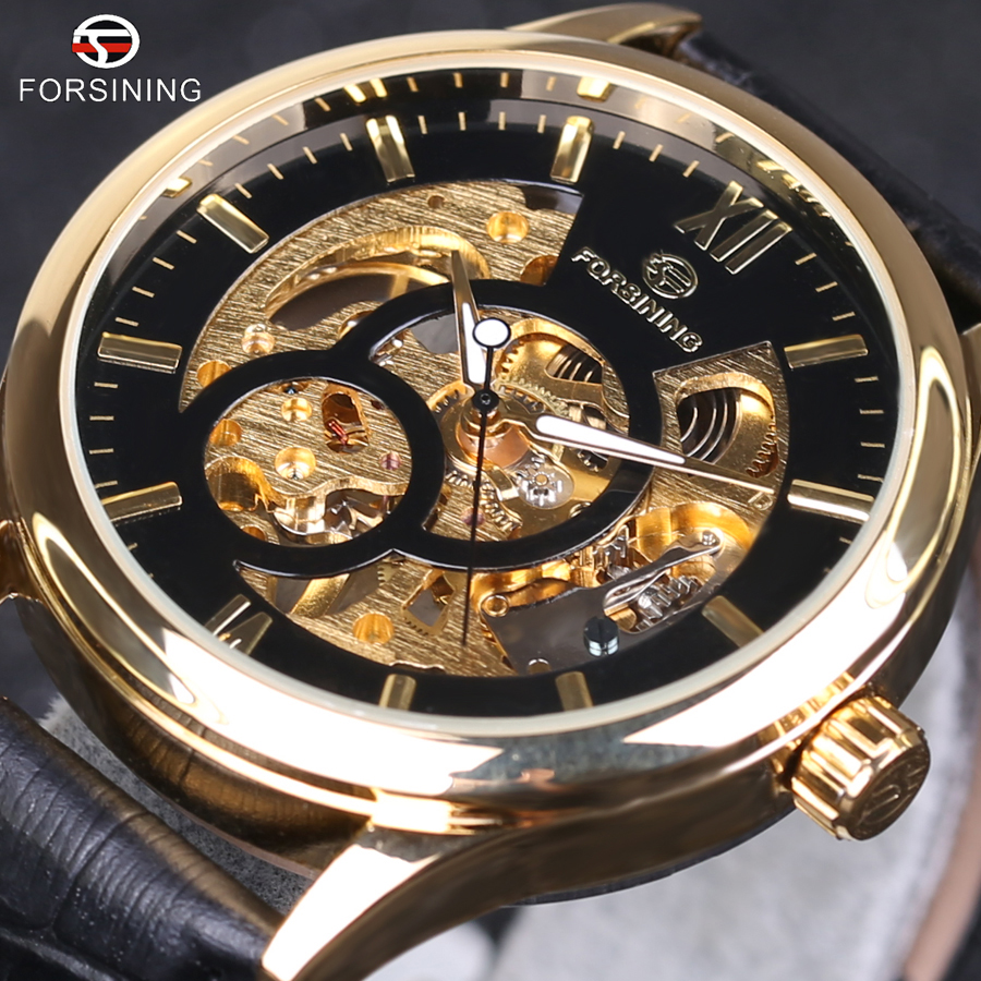 forsining black gold design men watch top brand luxury erkek saat skeleton mechanical watch male. Black Bedroom Furniture Sets. Home Design Ideas