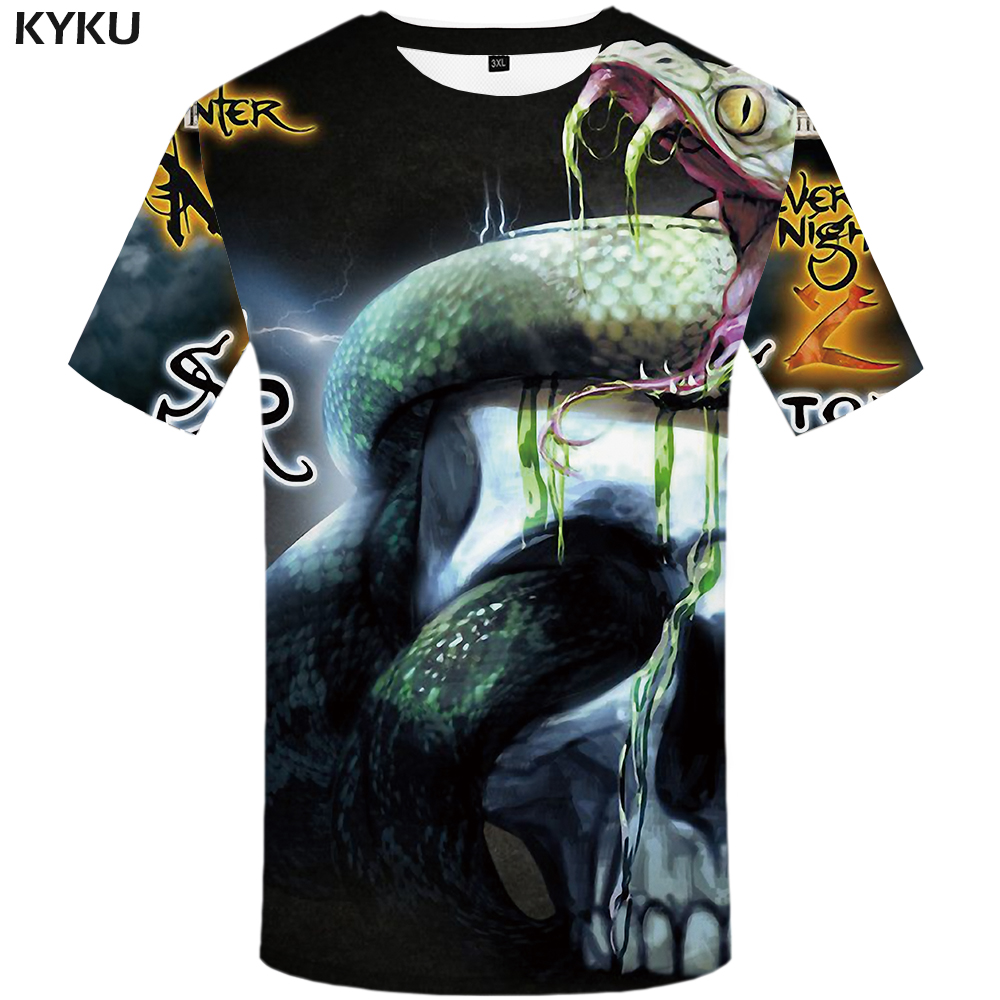693bb1d7720 KYKU Brand Skull T shirt Women Punk Tshirt Snake Shirts Gothic 3d T shirt  Tops Plus Size Womens Print Big Fitness New-in T-Shirts from Women s  Clothing on ...