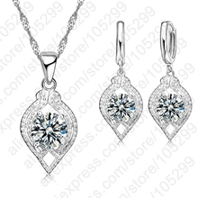JEXXI Nice 925 Sterling Silver Fine Wedding Jewelry With Full Cubic Zircon Pendant Necklace For Women Drop Earring Party Sets
