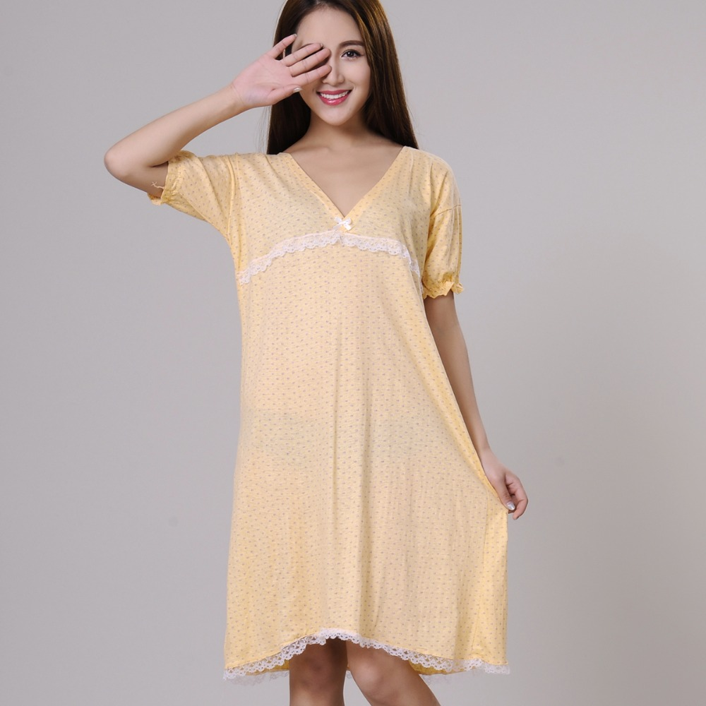 100% cotton   nightgowns   for women summer   sleepshirts   2019 new autumn v-neck female sleepwear teenage girl lounge green yellow
