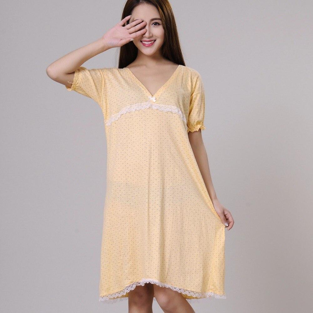 db3b8a7e4ea5 Camisones de algodón 100% para mujeres de verano sleepshirts 2019 nuevo  otoño cuello en V ropa de dormir femenina adolescente salón verde amarillo
