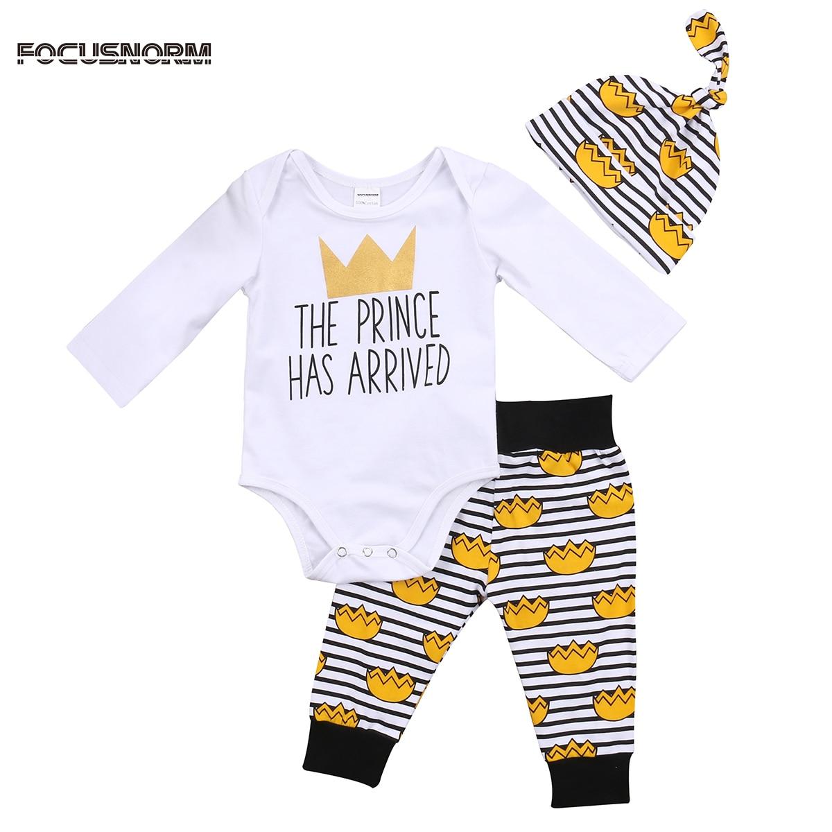 3 шт. милый для маленьких мальчиков принц комбинезон комбинезон, костюм Брюки для девочек Одежда для младенцев и новорожденных комплект оде...