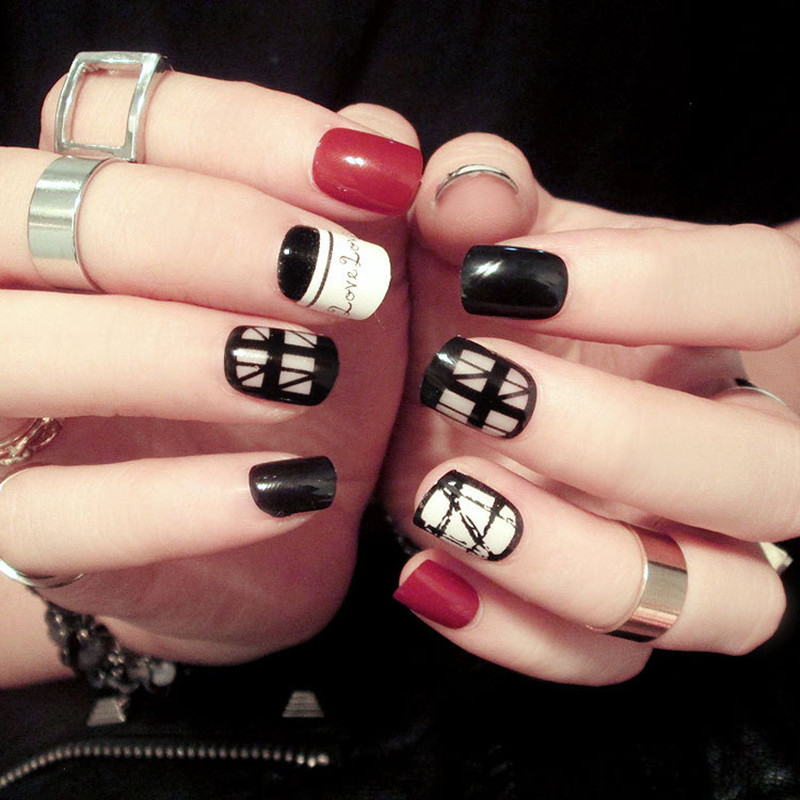 Online Shop Hot Sale Full Fake Nails red white and Black Transparent ...