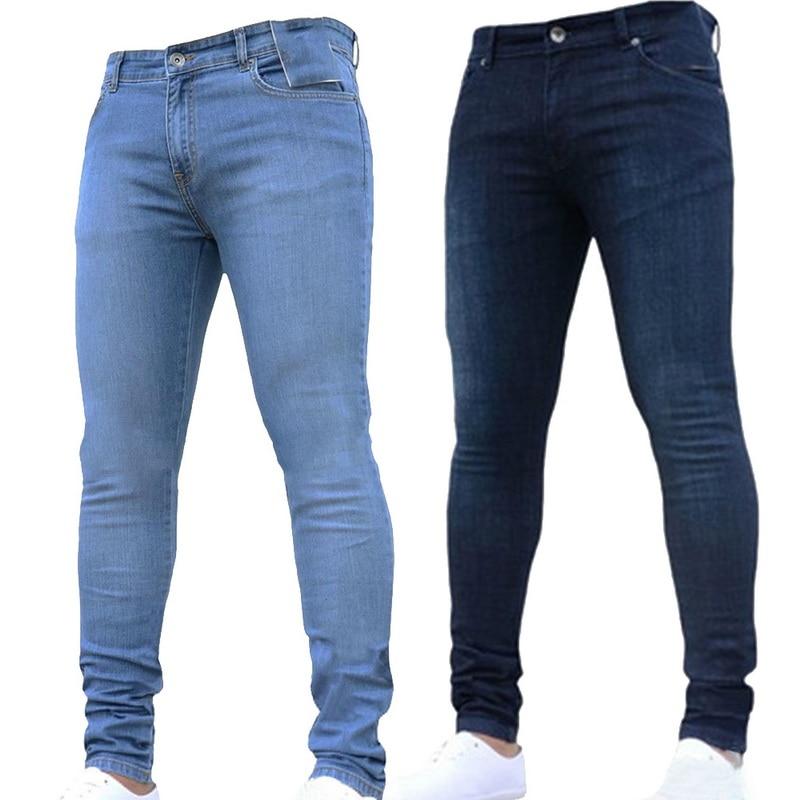 0f50c5ffb4 SHUJIN Plus Size Skinny Jeans Men Casual Stretch Straight Trousers Jeans  Fashion Solid Streetwear Slim Fit