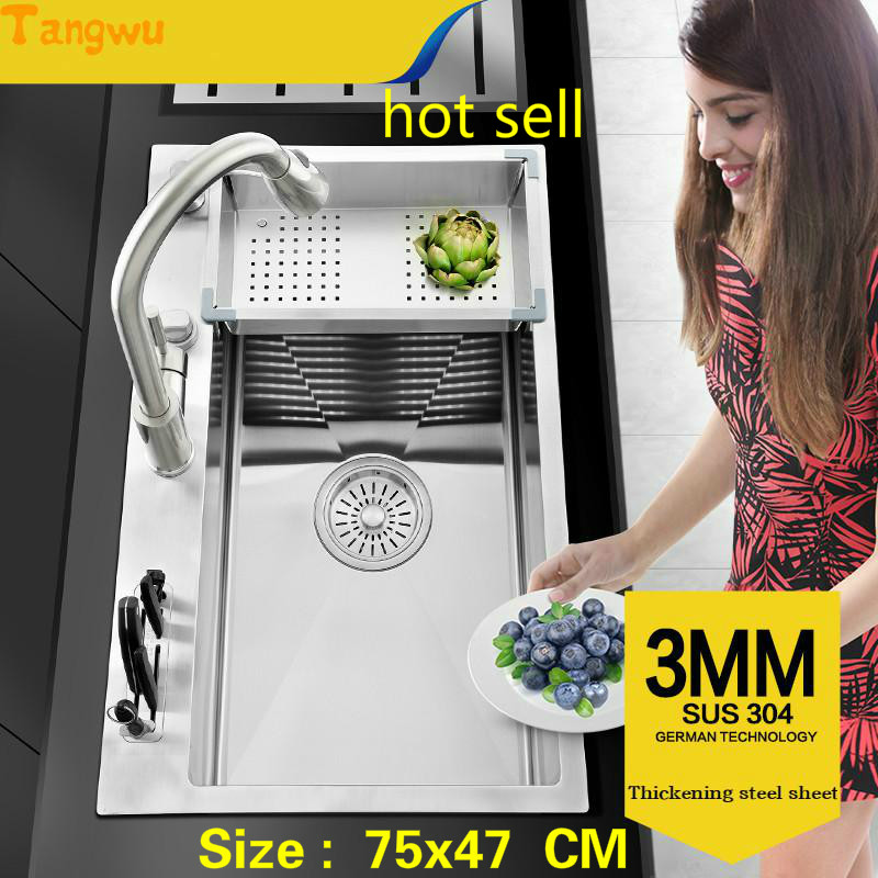 Tangwu kitchen 304 stainless steel hand sink single trough big wash dishes under the table thickening