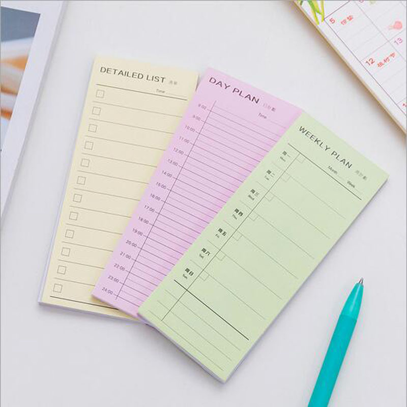 1 Pcs Simple Colorful Memo Pads Weekly plan Detailed list Decoration Stickers Self-Adhesive Stationery Sticky Notes 2018 new arrival 10mm 12 pcs circles round code stickers self adhesive sticky labels black