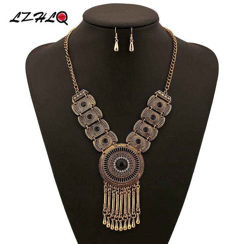 LZHLQ Vintage geometrie Vodní kapka Tassel Choker Prohlášení Náhrdelník Ženy 3 barvy Zinkové slitiny náhrdelníky Přívěsky Trendy