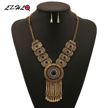 LZHLQ Vintage Geometry Water Drop Tassel Choker Statement Necklace Women 3 Colors Zinc Alloy Necklaces Pendants Trendy