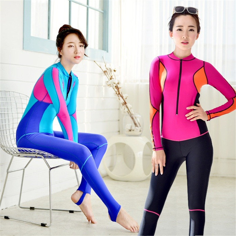 MEIYIER Women Triathlon Wetsuits For Swimming One-Piece Diving Suits Long Sleeve Patchwo ...