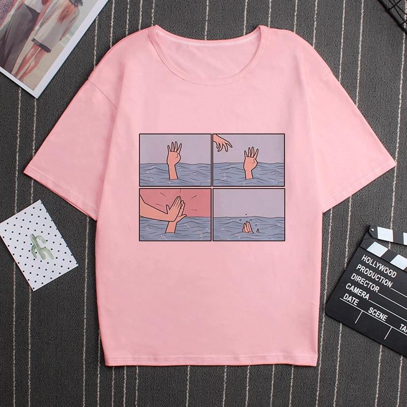 Moją depresję mój mózg mój niepokój list drukuj różowy T Shirt parodia osobowości Vogue nowy Harajuku dorywczo luźne kobiety Top odzież 1