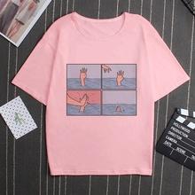 Moją depresję mój mózg mój niepokój list drukuj różowy T Shirt parodia osobowości Vogue nowy Harajuku dorywczo luźne kobiety Top odzież tanie tanio ZZSYKD Elastan Poliester NONE Topy Suknem Na co dzień Tees Krótki REGULAR camiseta mujer Tumblr korean Style tshirt women tee shirt femme 2019