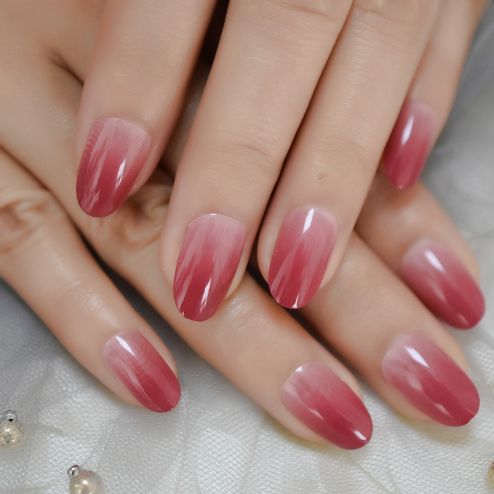 oval ombre medium fake nails berry