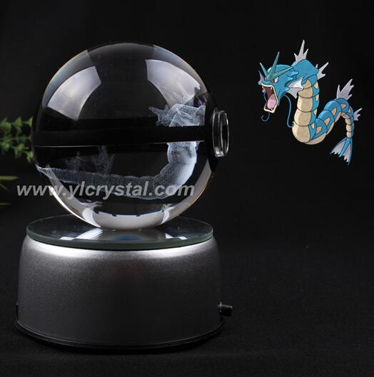 Gyarados Pokemon Ball Engraving Round Crystal With Black Line Nice Fashion Ball With LED Base With Gift Box