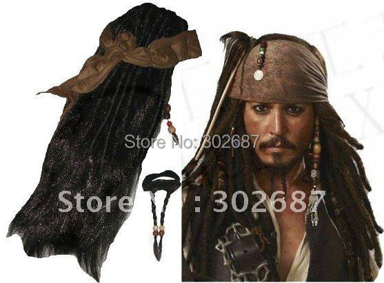 Retail 1 Set Pirates Caribbean Jack Sparrow Costume Accessories Wigs Beards Sets Free Shipping