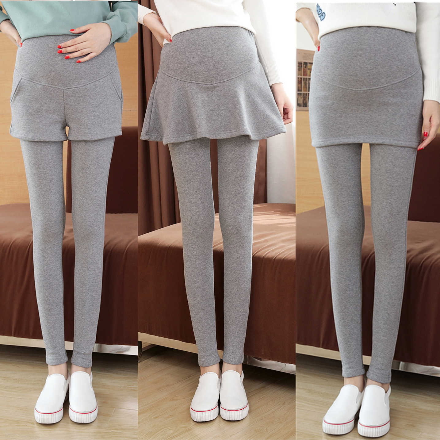 ec839f2c36a4d ... Fake Two Pieces Belly Skinny Maternity Legging Elastic Cotton  Adjustable Waist Pencil Pregnancy Pants Clothes for ...