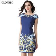 Glorria 2017 Summer Women Slash Neck Short Dress Print Elegant Casual Fashion Sweet Sundress Lady Office Business Party Dresses