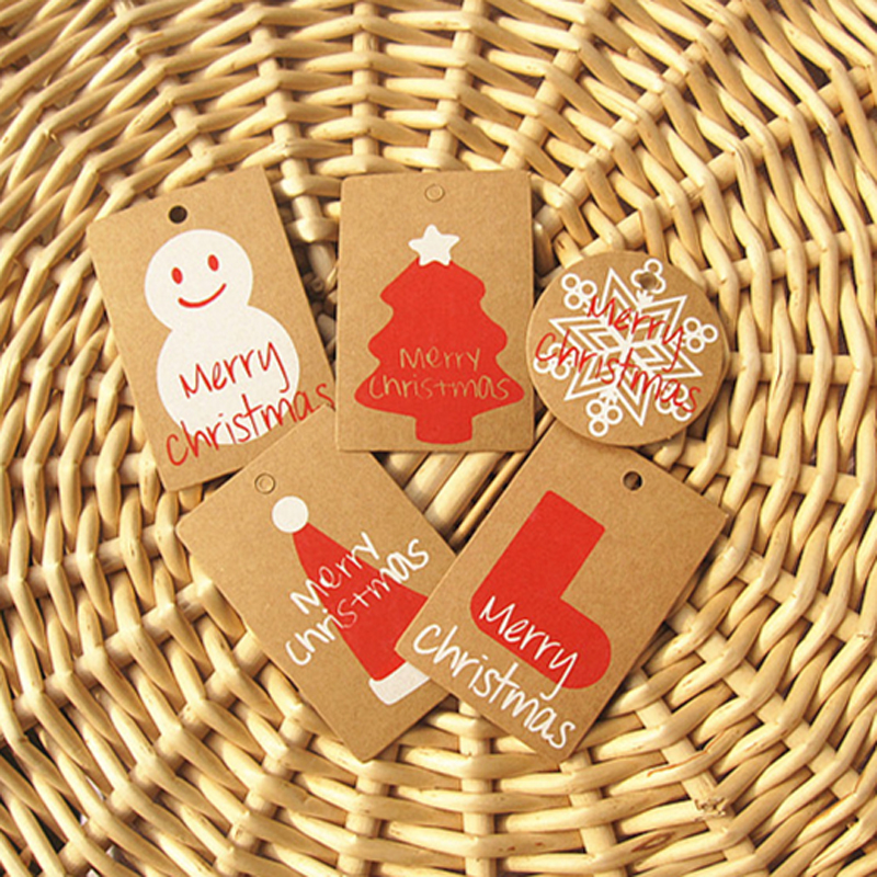 50pcs/lot Merry Christmas Small Kraft Decoration Cards Snowman Snowflake Christmas Tree Hat Boots Box Tag Party Favor Gift Tag