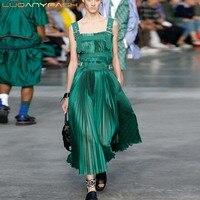 Luoanyfash Двойка длинные юбки для Для женщин Мини топы без рукавов Для женщин комплекты зеленый костюм женский 2018 Новая мода Костюмы