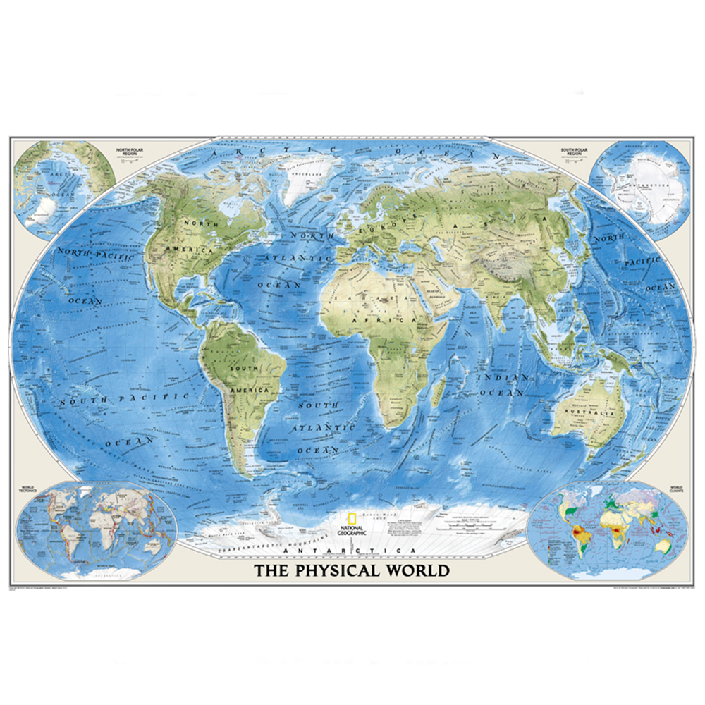 The Physical World Map Poster Size Wall Decoration Large Map Of The World 80x53 Waterproof And Tear-resistant