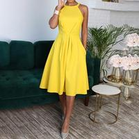 2018 Summer Women Yellow Fashion Formal Workwear Halter Party Dresses Ladies Solid Sleeveless Waist Ruched Casual Dress