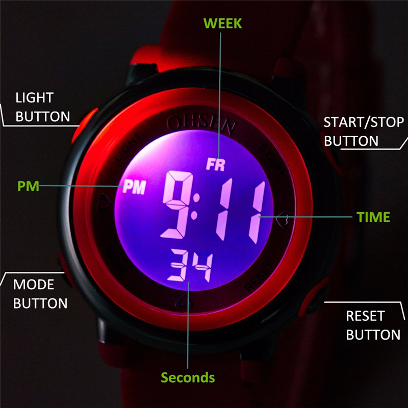 Ohsen Jelly Candy Watch Clock Woman Waterproof 50m Outdoor Digital Sports Watch Women Simple Small Bracelet Hand Wrist Hour Gift Watches
