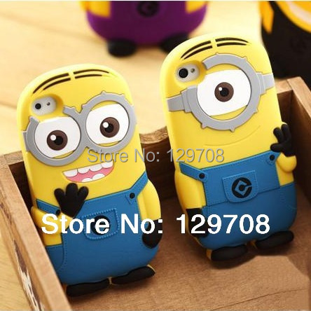 For iPhone X 4 4G 4S 5 5S SE 5C 6 6S 7 8 Plus Soft Rubber Silicone 3D Cute Cartoon Despicable Me Minion Back Phone Cover Cases