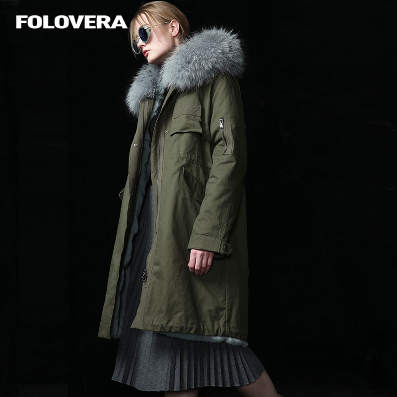 Folovera women's army green/dark blue raccoon fur hooded coat parkas outwear long detachable lining winter jacket brand style куртка turbokolor ewald plus jacket fw13 dark green l