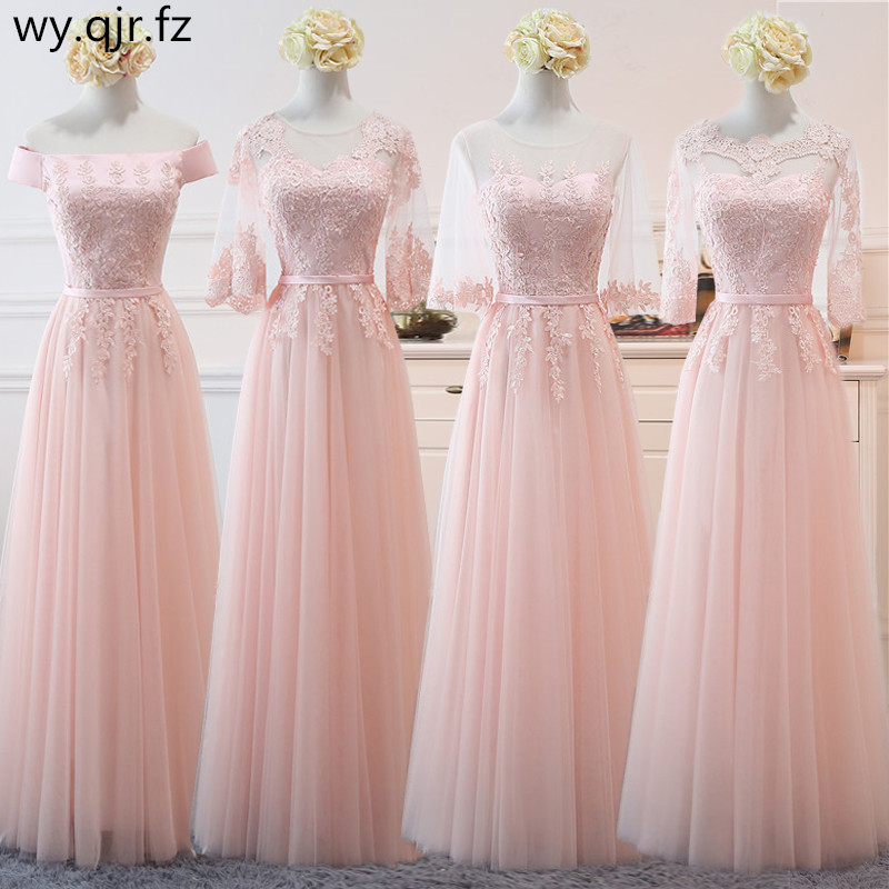 NCG03#Lace Up Peach Sand Net Yarn Long Bridesmaid Dresses New Spring 2019 Wholesale Women Wedding Party Prom Bridal Dress Pink
