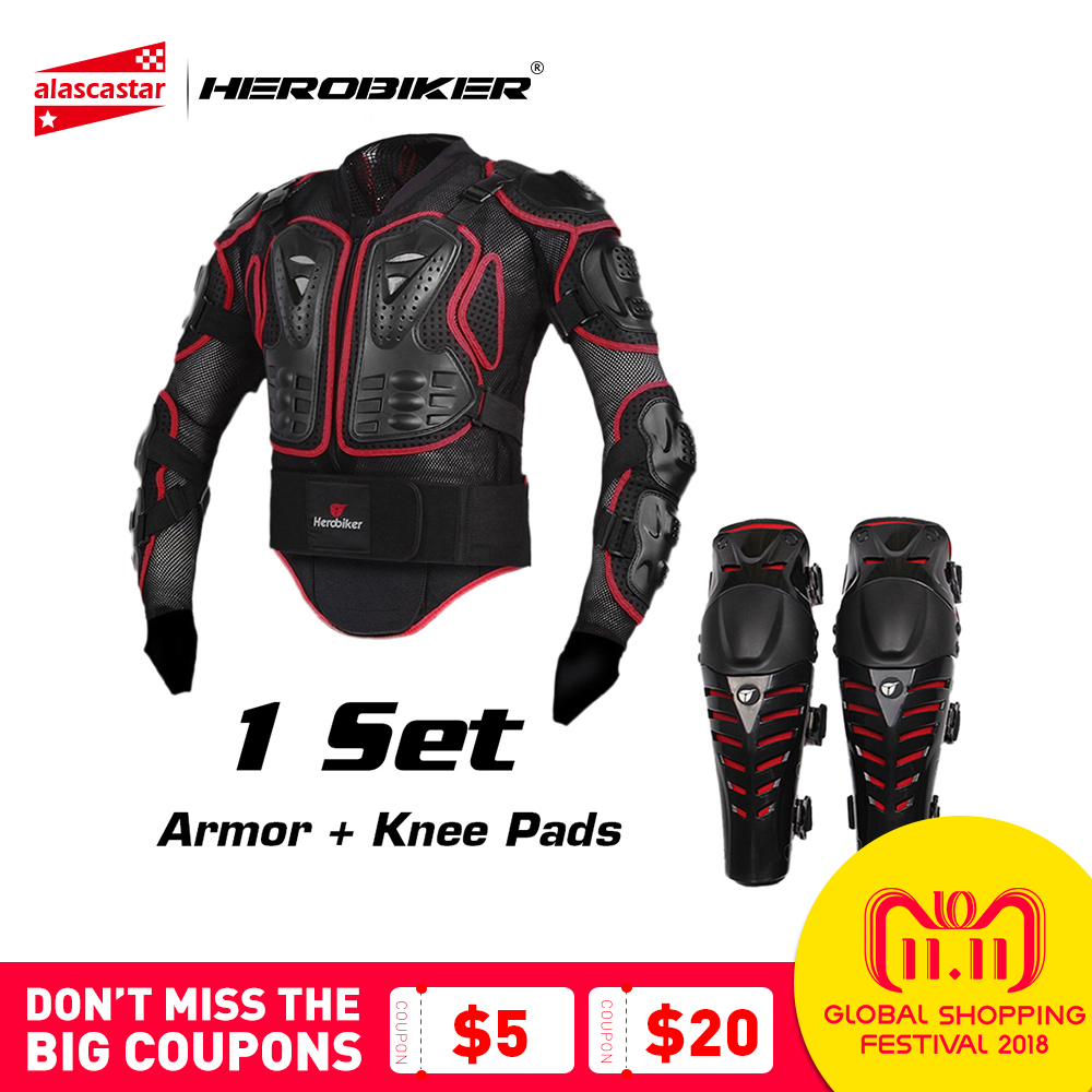 HEROBIKER Motorcycle Riding Armor Jacket + Knee Pads Motocross Off-Road Enduro ATV Racing Body Protective Gear Protector Set herobiker armor removable neck protection guards riding skating motorcycle racing protective gear full body armor protectors